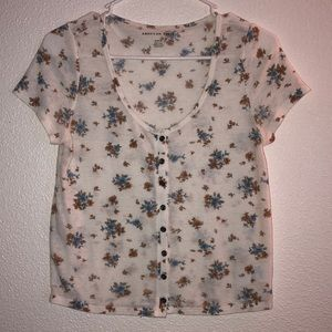 Floral t shirt with buttons